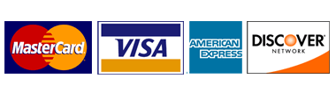 We accept Visa, Mastercard, Discover, American Express credit cards